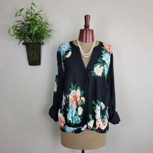 INC Floral Sheer Twisted Button Front Blouse Top L